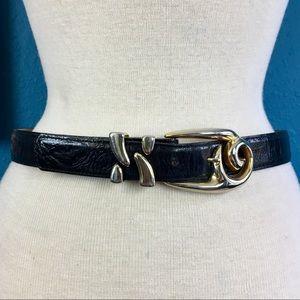Leatherock black leather swirl buckle belt, M